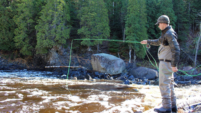 Angler fishing for steelhead on Minnesota's North Shore